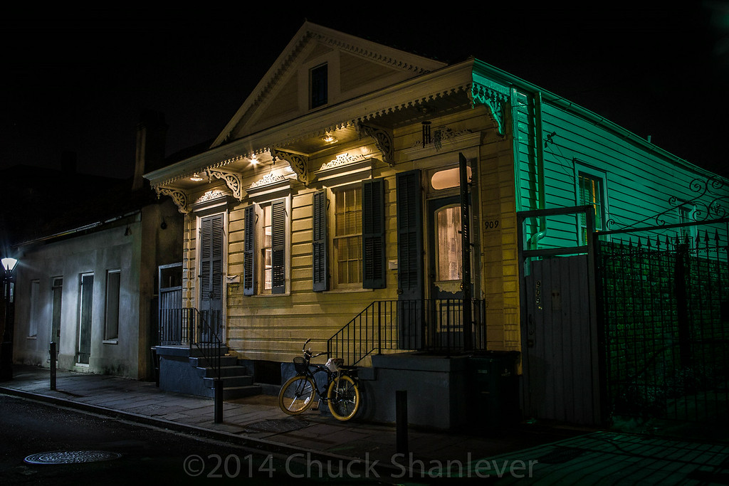 House at Night , Green and Yellow