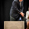 Chairperson of the Pelham School Board, Brian Carton unveils the new 2016 Pelham High School Dedication Plaque. SUN/Caley McGuane