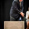 Chairperson of the Pelham School Board, Brian Carton unveils the new 2016 Pelham High School Dedication Plaque. SUN/Caley McGuane