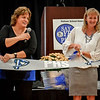 From left, Vice Chair of the Pelham School Board, Debbie Ryan and Superintendent of the Pelham School District, Amanda Lecarzo cut the ribbon during the celebration of the new Pelham High School. SUN/Caley McGuane