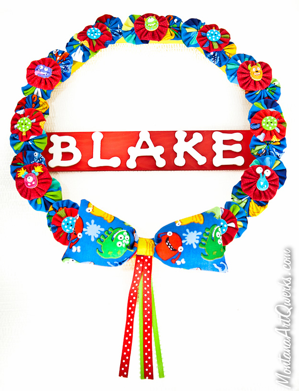 Li'l Monsters Personalized Wreath: $30 / $27 + shipping: