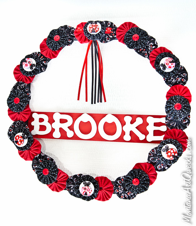Red and black personalized Lady Bug wreath $27 / $30  + shipping