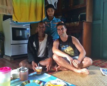 Matthew with his village family in Fiji...
