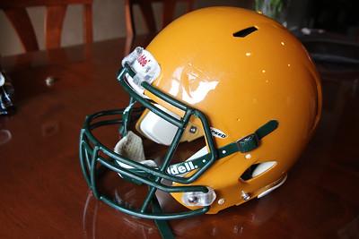 David's football helmet...