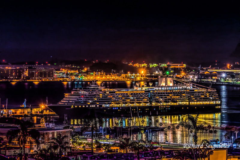 """Westerdam"" arriving early morning at San Diego cruise terminal"
