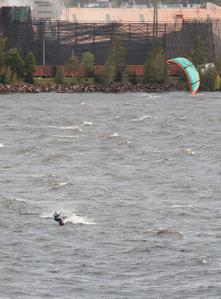 Crazy Person Wind Surfing in Gale