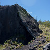 A Mauna Loa dyke from a radial vent is exposed in the Mauna Kea Pu'u Huuhulu cinder cone.