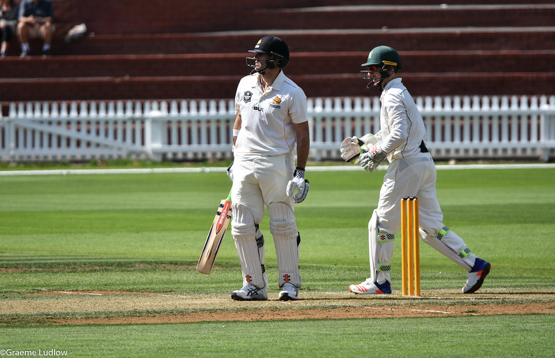 South African-born Malcolm Nopal top scored for Wellington in the first innings, with 179. Here he admires one of many sixes he hit