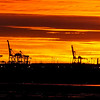 Sunrise over the port of Brisbane, seen from the international airport. June, 2016