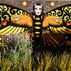 A Titahi Bay resident has turned their garden into a sanctuary for Monarch butterflies, and a local artists has painted three murals on the fence to add even more colour. This is one of the murals. April 17, 2017