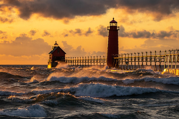Lake Michigan Pounds Grand Haven Pier at Sunset