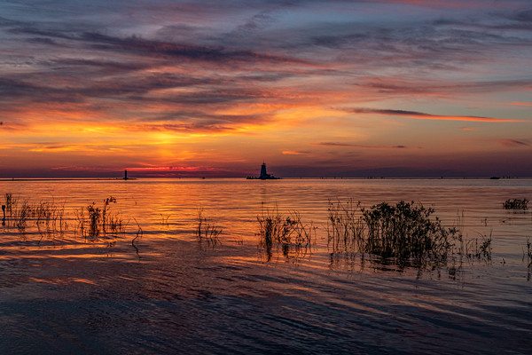 Ludington and Lake Michigan Painted Orange, Red, and Yellow