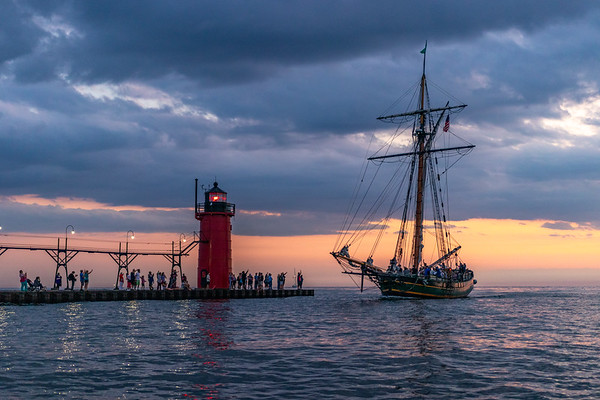 "The Historic ""Friends Good Will"" Returns to South Haven at Sunset"