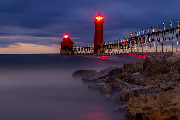 Grand Haven South Pier Before Dawn