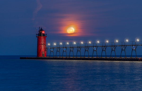 The Moon Sets Over South Haven