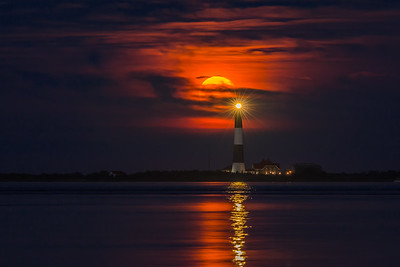 Moonrise Over Fire Island Lighthouse II
