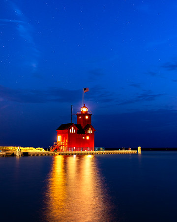 Holland's Big Red Lighthouse Aglow