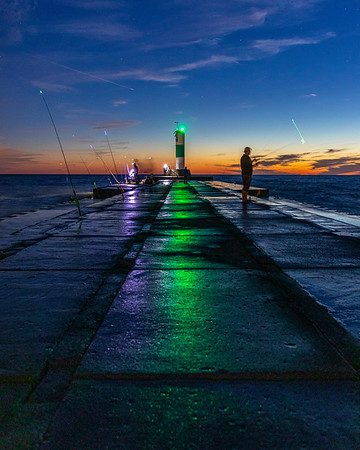 Fishing Off Grand Haven's North Pier