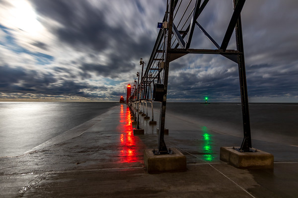 Grand Haven's New Catwalk Beneath the Moonlight