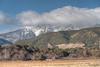 Farms in the shadows of the Sangre de Cristo Mountains.