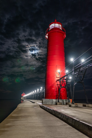 Grand Haven Under a Dramatic Moonlit Sky