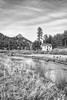 Cool little picturesque house on the South Platte River, in black and white.