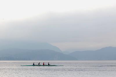 Aviron sur le lac d'Annecy