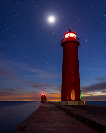 Moon and Stars Shine Bright Over Grand Haven