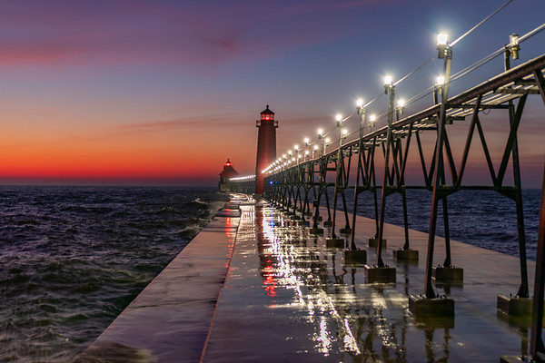 Grand Haven Afterglow, Lights, Reflections