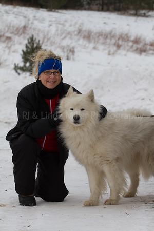 Woman with Sled Dog, Apostle Island Sled Dog Races, Bayfield County, Wisconsin