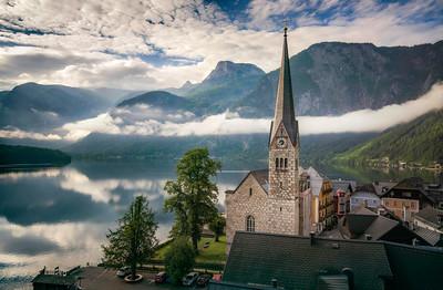 Misty Morning in Hallstatt Austria