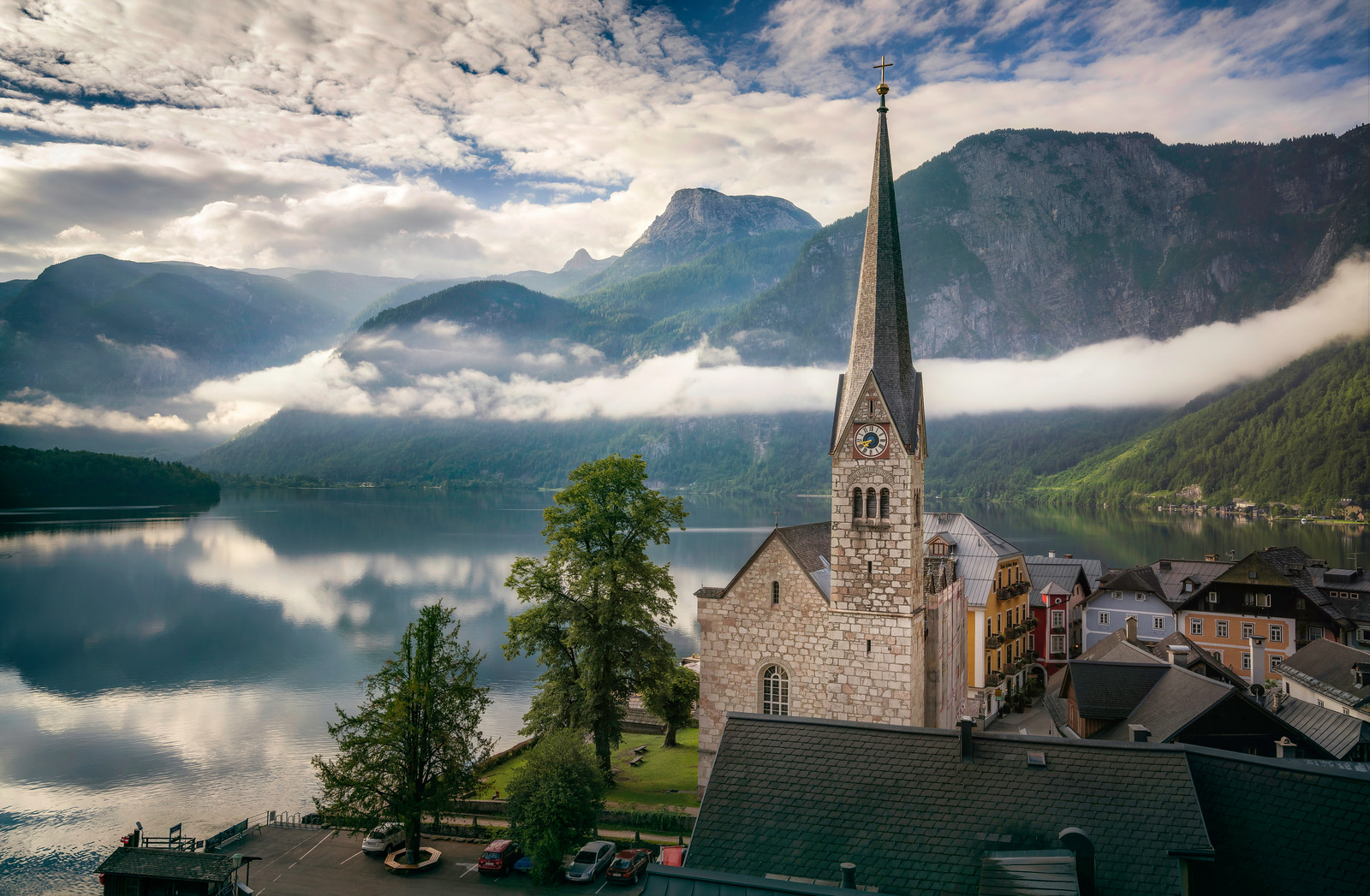 Misty Morning in Hallstatt Austria