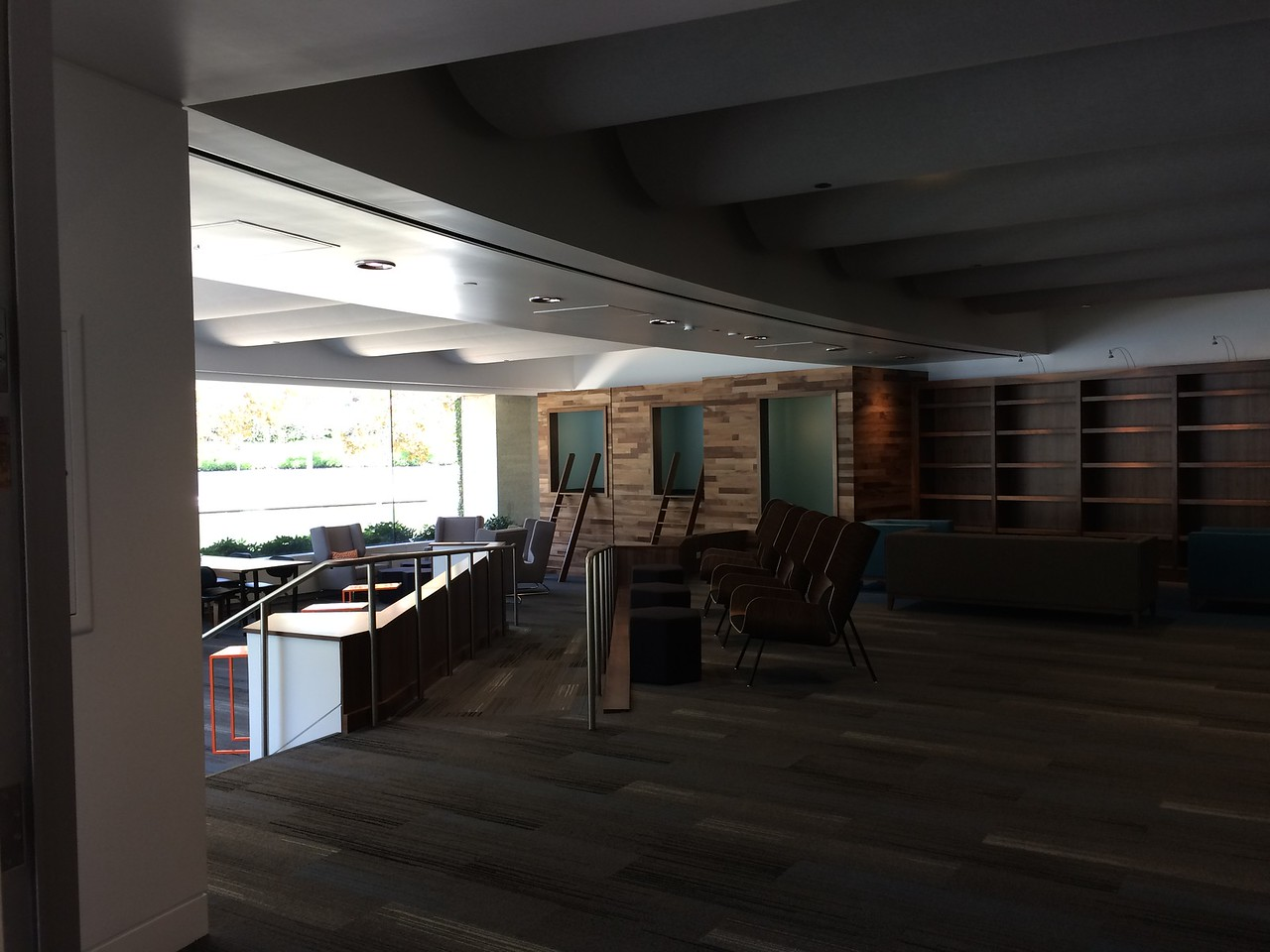 Next to the food court dining area is the library.