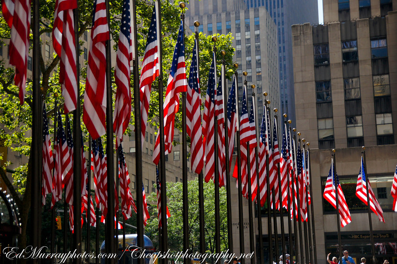 Old Glory Everywhere: Flags which surround the plaza at Rockefeller Center in NYC