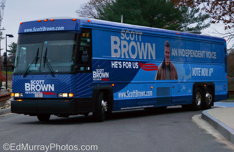 The Final Push: I ran into the Scott Brown's (Massachusetts Senator) bus leaving the hotel that's in the office park that I work in. The race for for this seat has become pretty ugly in recent weeks and accordong to the latest poll....the race is a deadheat.  11/5/2012