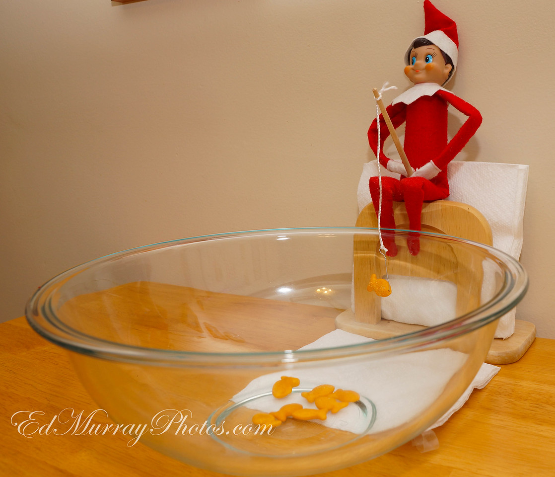Time to Drop a Line: The elf is doing a little fishing this morning. He also left a note for the kids saying that he was going to leave all the snowflakes up until Friday for them...(they were concerned that the snowflakes would be gone when they woke up this morning)  12/06/2012