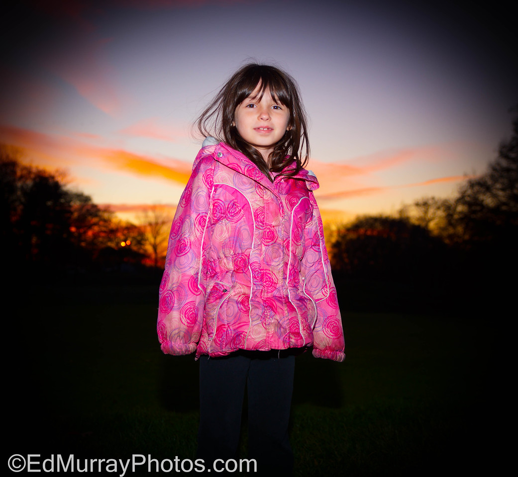The Girl: The sun was setting as we were passing a golf course, so I stopped the car, got her out and snapped a quick shot. Unfortunately her brother wanted NOTHING to do with this impromptu shot. Thank you all for the warm welcome back yesterday!!!!!    11/20/2012