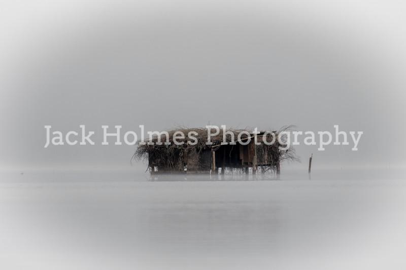 South Louisiana duck blind on a foggy morning.