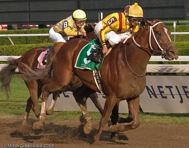 Curlin pulls ahead; he will win by about a length and a quarter.