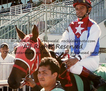 Cornelio Velazquez on Sweet Lili, a half to Sweetnorthernsaint, out for her first race