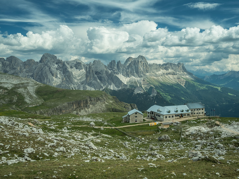 The Schlernhaus and the Rosengarten Mountains, South Tyrol, Italy