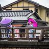 Kimono Women on the Bridge, Kyoto, Japan