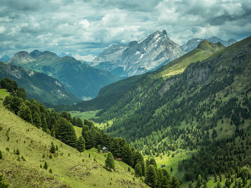 Little Hut and the Valley with the Marmolada, South Tyrol, Italy