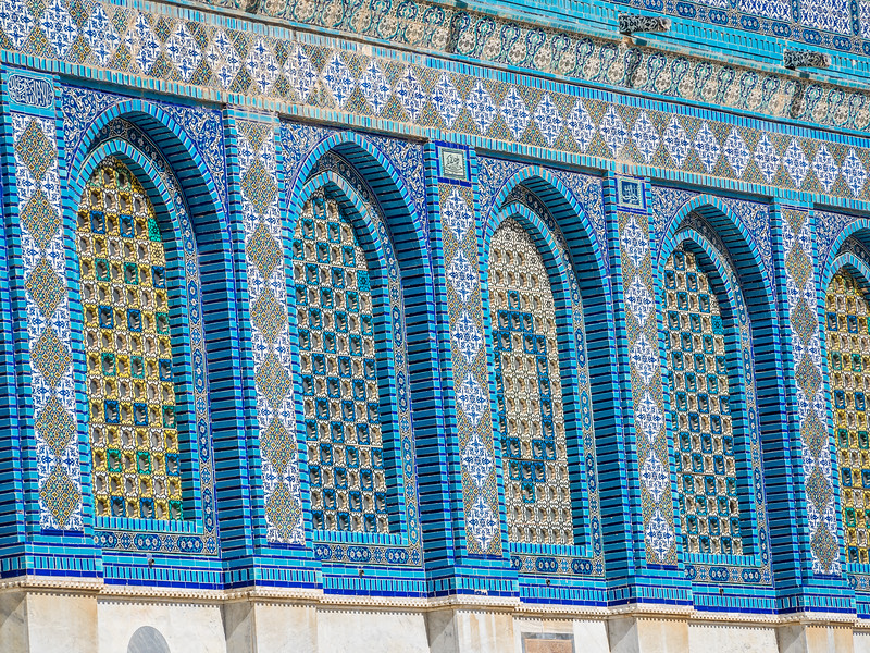 Intricate Windows on the Dome of the Rock, Jerusalem
