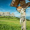 Wooden Christ in Seiser Alm, South Tyrol, Italy