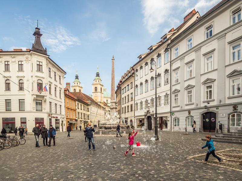 Bubbles in the Old Town, Ljubljana, Slovenia
