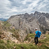 Hiking near the Rosengarten Mountains, South Tyrol, Italy