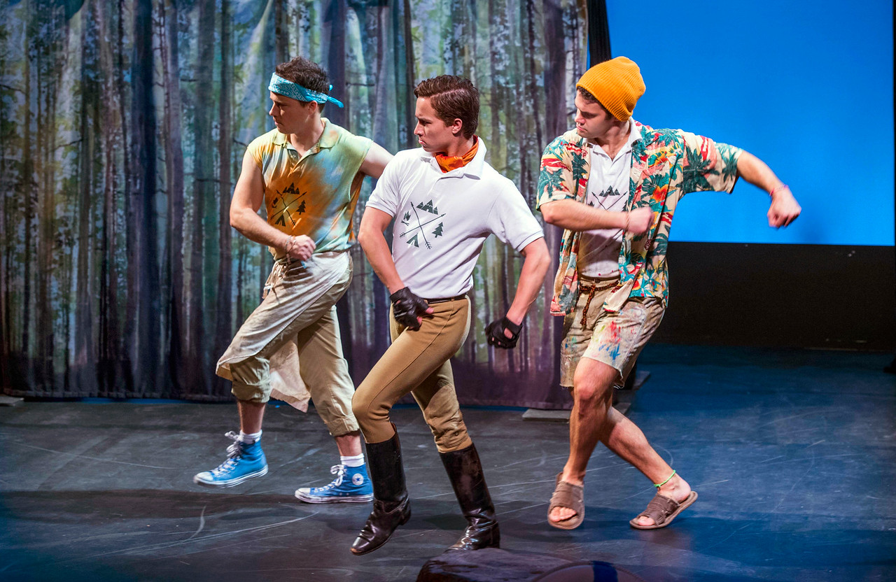 "Mark Comer, Josh James, and Joe Knispel in Asolo Rep's presentation of its 2015 New Stages Tour, an FSU/Asolo Conservatory for Actor Training production of ""Twelfth Night."" Photo by Cliff Roles."