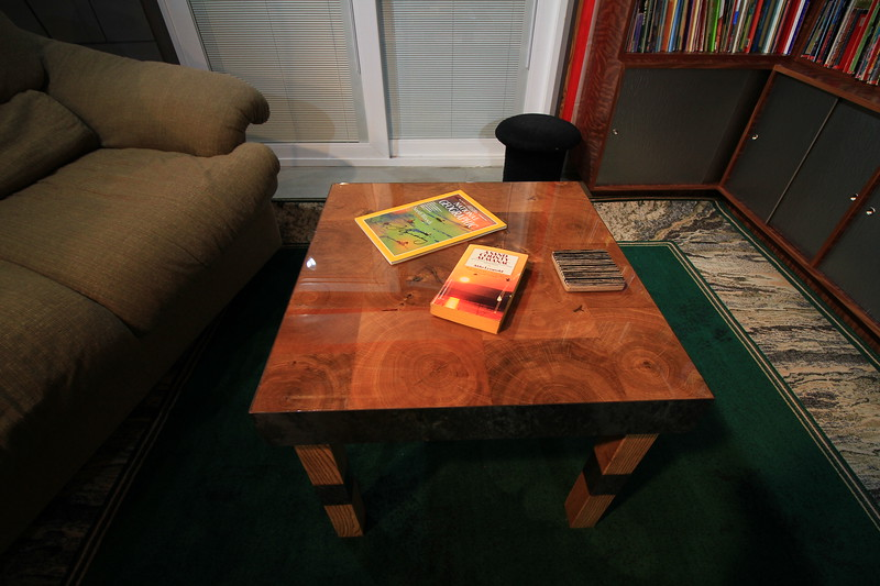 White Oak end grain table with bar pour