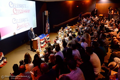 Congressman Doug LaMalfa speaks as a group of approximately 40 new U.S. citizens receive their certifications of citizenship during a ceremony at the Oroville Visitors Center in Oroville, Calif. Friday July 20, 2018. (Bill Husa -- Enterprise-Record)